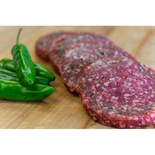 4 x 4oz Beef and Jalapeno Burgers from our home reared beef