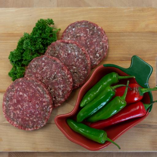 4 x 4oz Gluten Free Beef and Jalapeno Burgers from our home reared beef