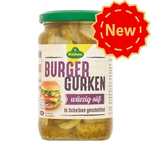 Kuhne Crinkle Cut Gherkin Burger Slices 330g
