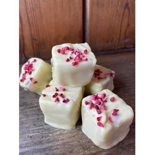 Lifetime of Chocolate White chocolate Raspberry shortcake fudge bites